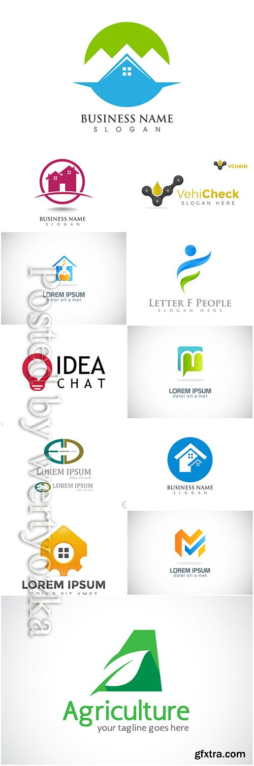 Logos set, business vector # 8