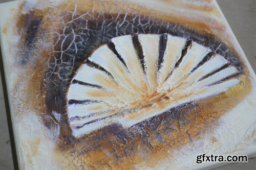 Mixed Media Class for Beginners: How to Paint a Crackled 3D Seashell Painting