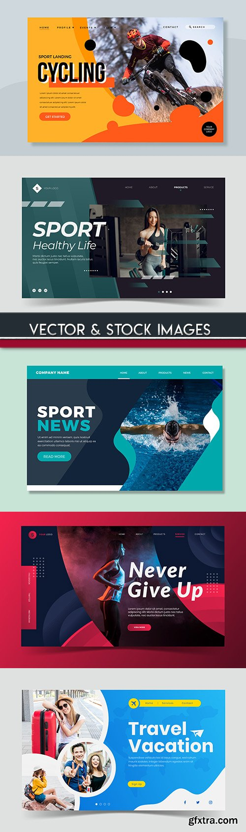 Sports and lifestyle page illustration template