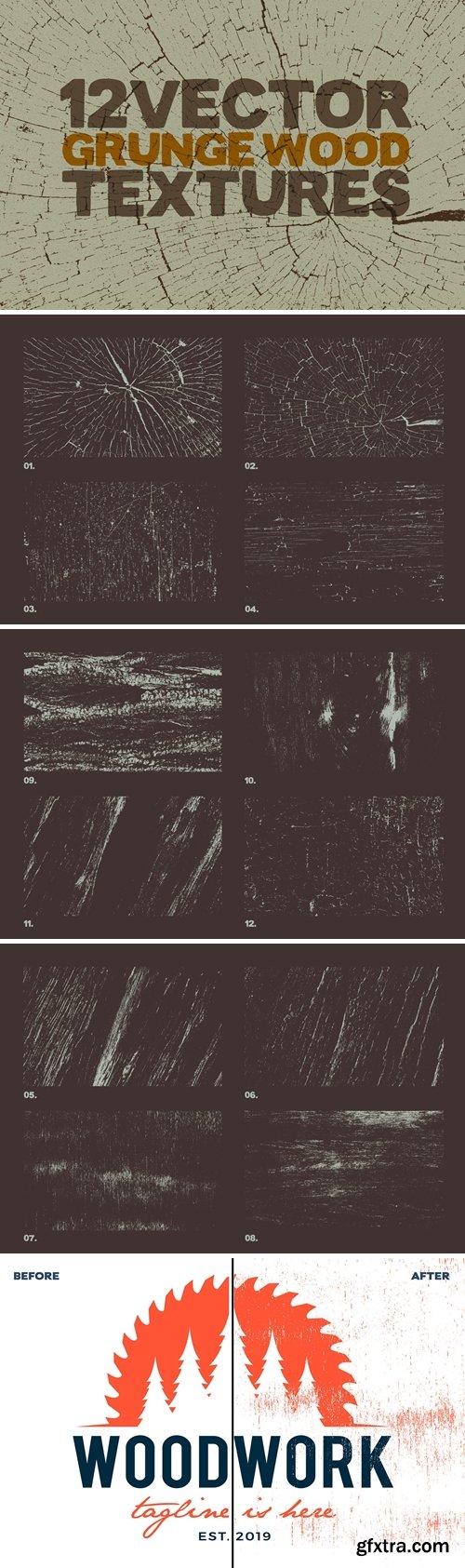 Vector Grunge Wood Textures x12