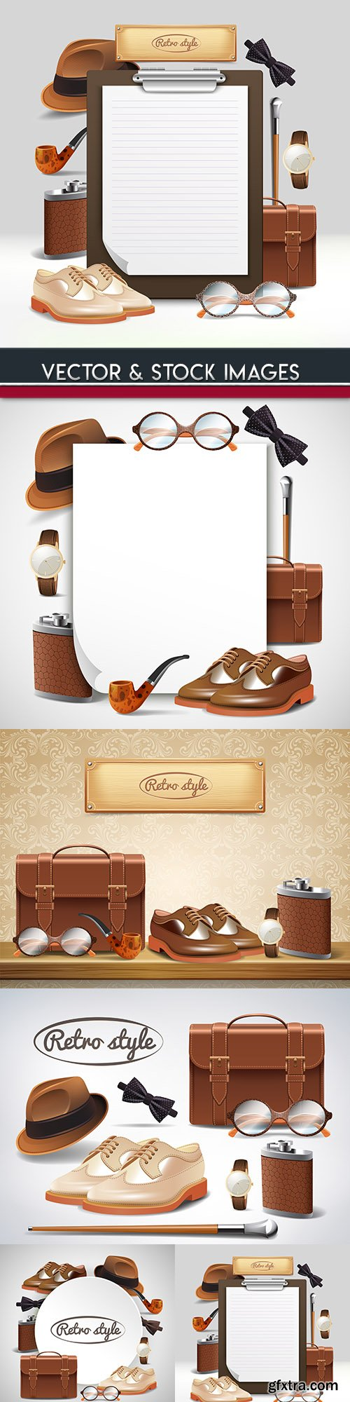 Classic retro gentleman accessories realistic illustration