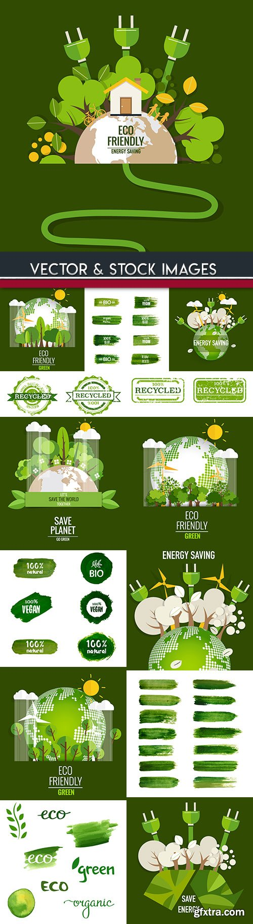 Ecology bio natural energy green and brush design