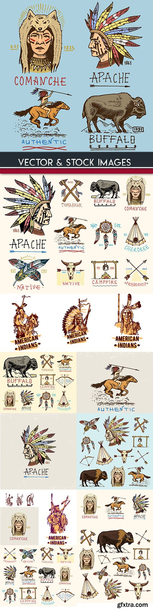 American Indian weapon and animal vintage emblems