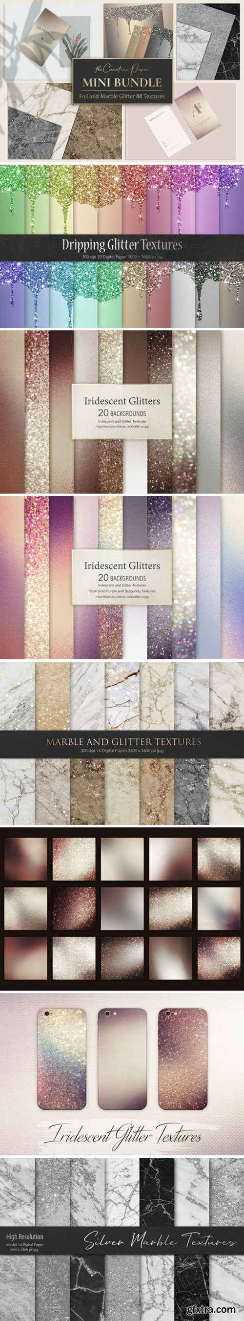 Rose Gold Foil & Marble Glitter Textures 2138222