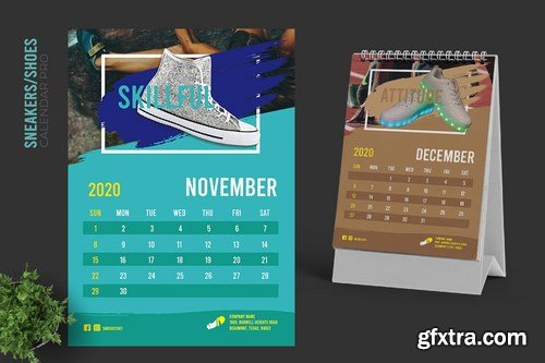 2020 Colorful Sneakers Sport Shoes Calendar Pro