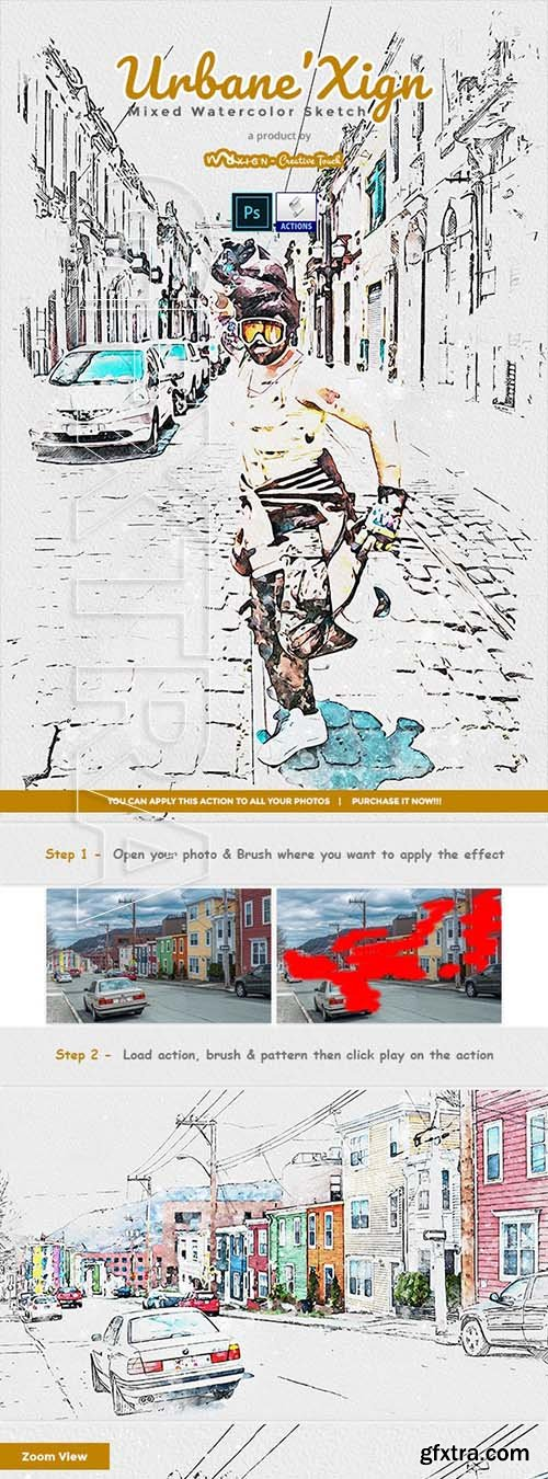 GraphicRiver - UrbaneXign - Mixed Watercolor Sketch PS Action 24998503