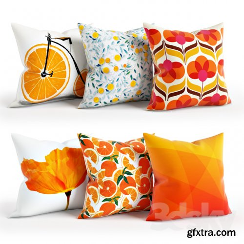 Orange Pillow Set 001 3D models