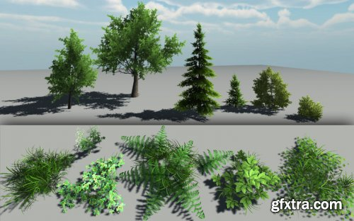 Lowpoly trees and grasses