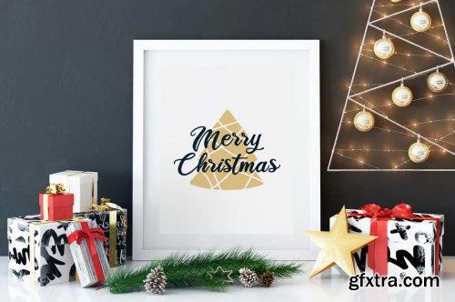 Merry Christmas T-Shirt. Vector Print, Tree SVG