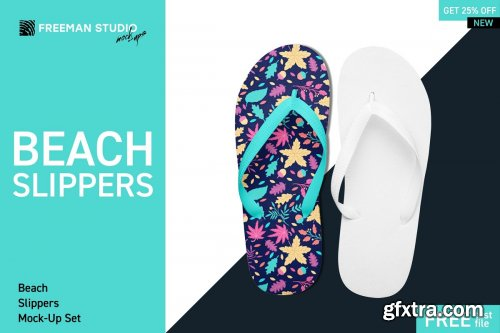 CreativeMarket - Beach Slippers Mock-Up Set 4234277