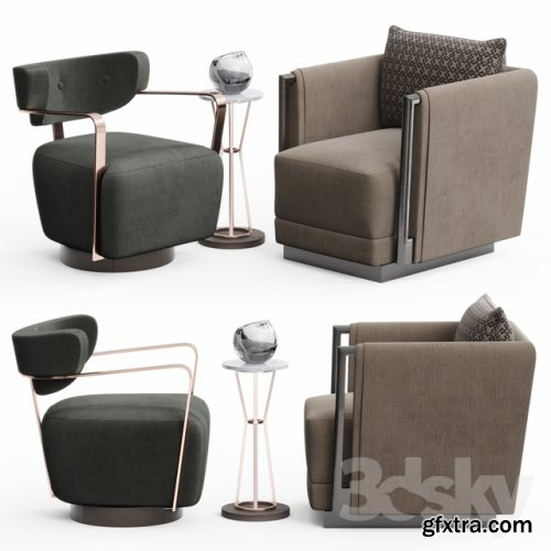 Caracole Chair Set 3D model