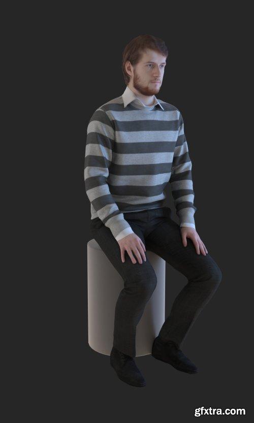 Casual Man Sitting 3d model