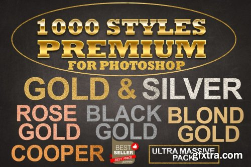 CreativeMarket - Gold Foil Layer Styles Photoshop 4258935