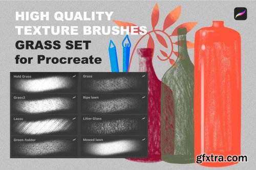 CreativeMarket - Procreate texture brushes. GRASS SET 4315431