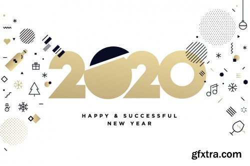 New Year 2020 Business Greeting Card