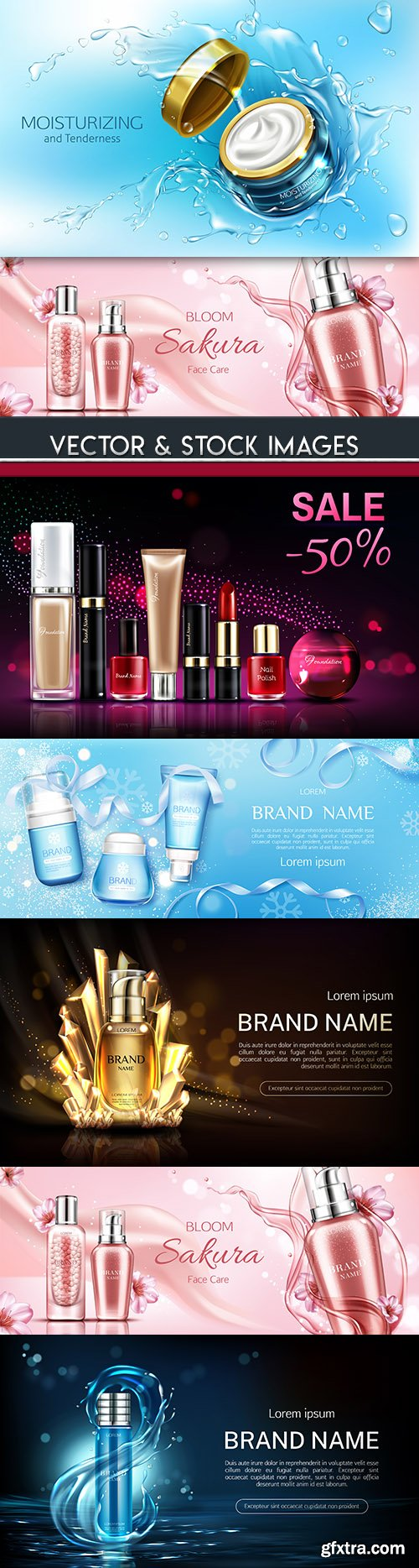 Brand name cosmetics plastic and bottles 3d illustration