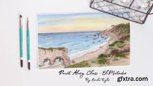 Watercolor Landscape: Watercolor Painting of El Matador Beach by Emilie Taylor