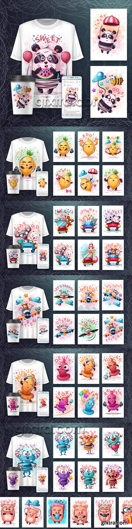 Design 3d t-shirts with mult funny characters