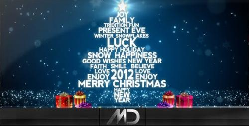 Videohive - Christmas / New Year Flying Words