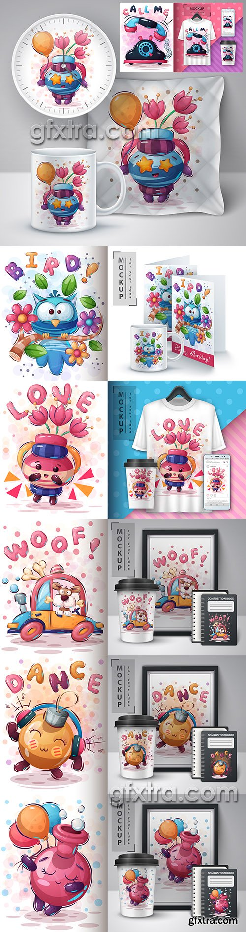 Design 3d t-shirts with mult funny characters 2