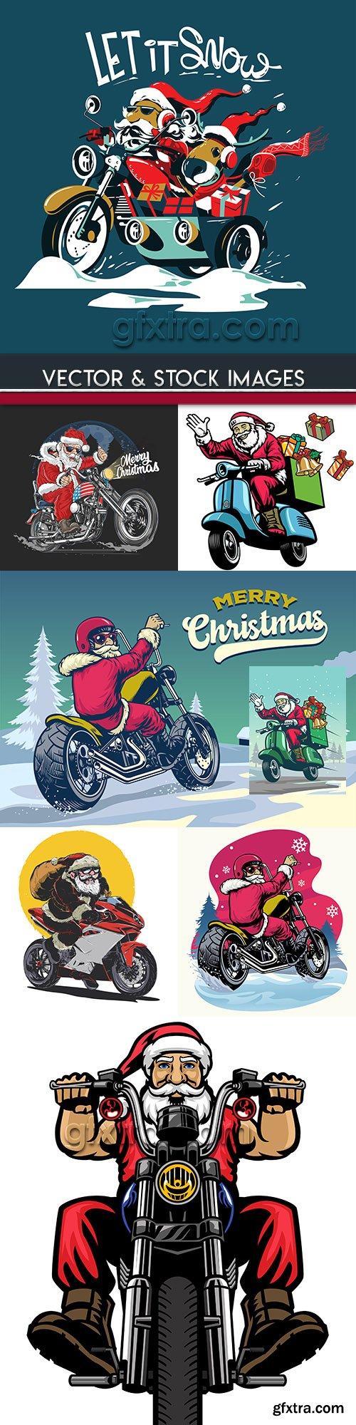 Santa Claus on motorcycle Christmas vintage illustration