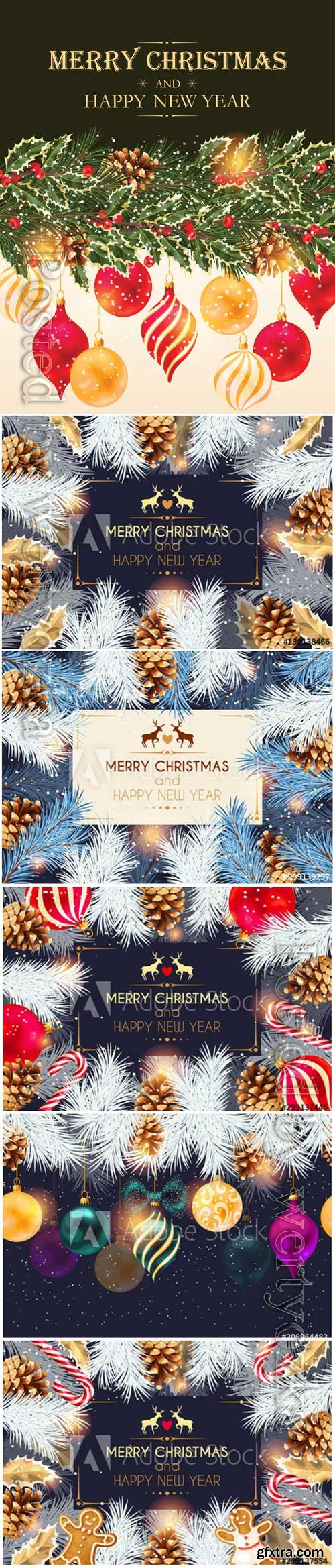 Christmas cards with cones, Christmas balls and Christmas tree