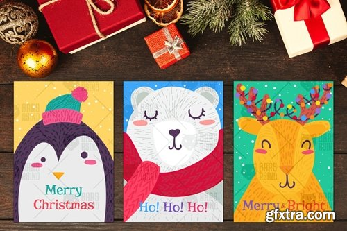 Christmas Greeting Cards With Animals Set