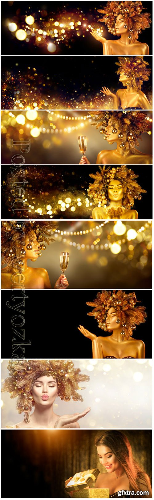 Beauty glamour golden Christmas woman celebrating