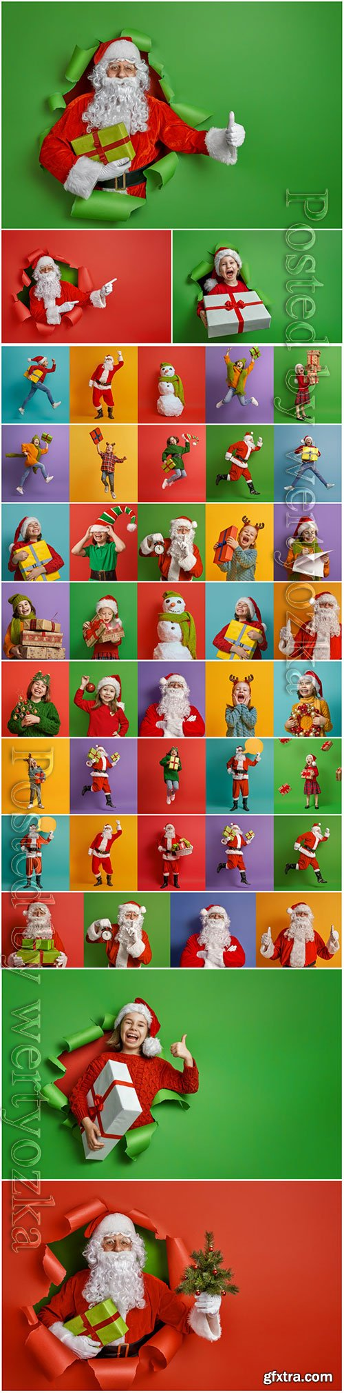 Children and Santa Claus on multicolor background