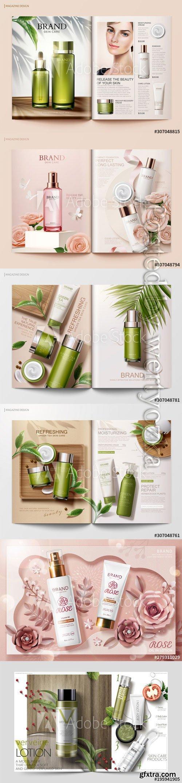 Skincare magazine vector template