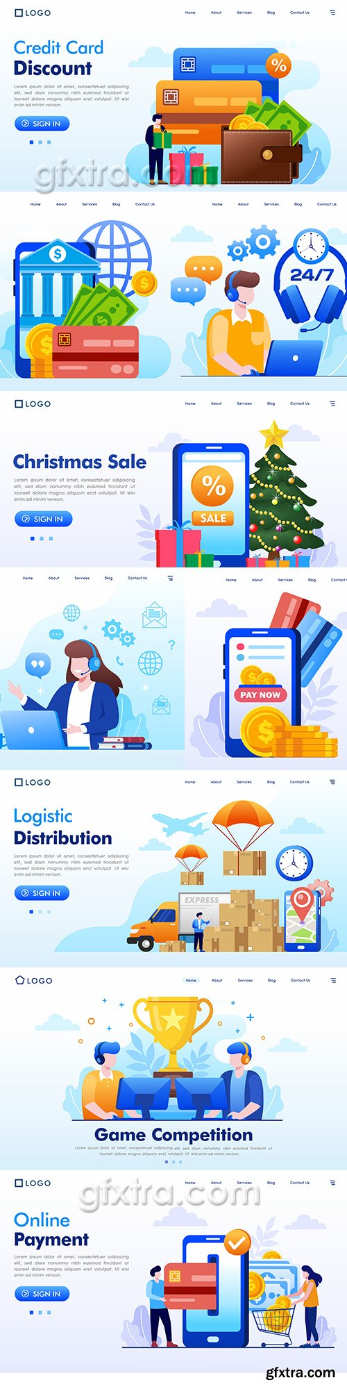 Illustrations website landing page business internet technology