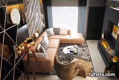 Modern Living Room 55 Interior Scene