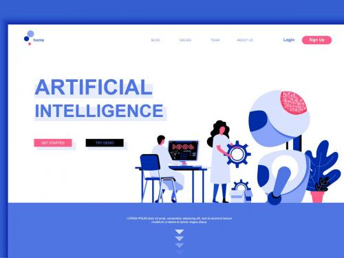 Artificial Intelligence Flat Landing Page Template - artificial-intelligence-flat-landing-page-template