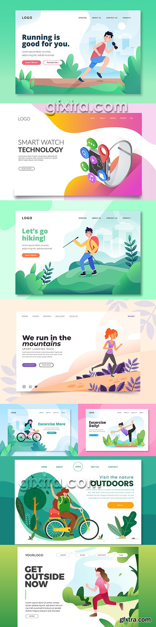 Illustrations website landing page business internet technology 3