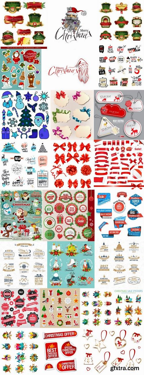 New Year label Christmas sticker discount sale EPS 25