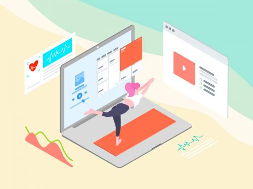 ARVR Exercise And Sport Isometric Illustration - TU - arvr-exercise-and-sport-isometric-illustration-tu