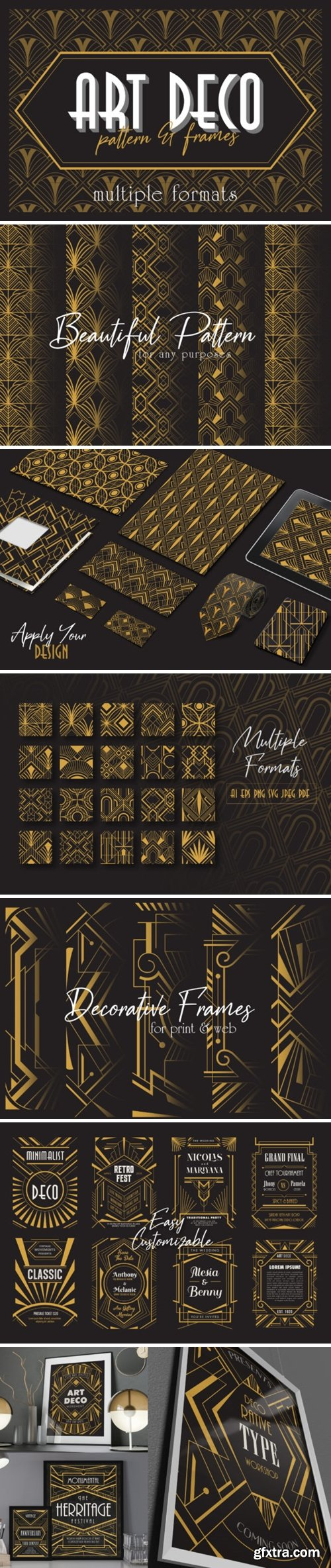 Art Deco Elegant Pattern & Frames 2226591