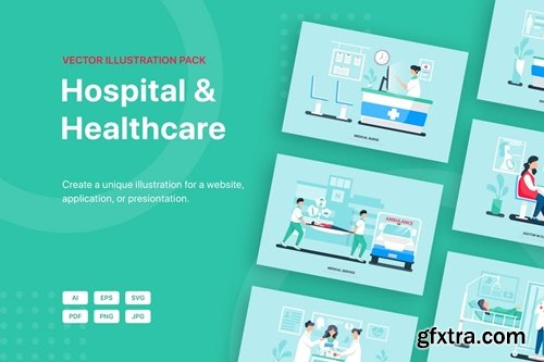 Hospital and Healthcare Vector Scenes