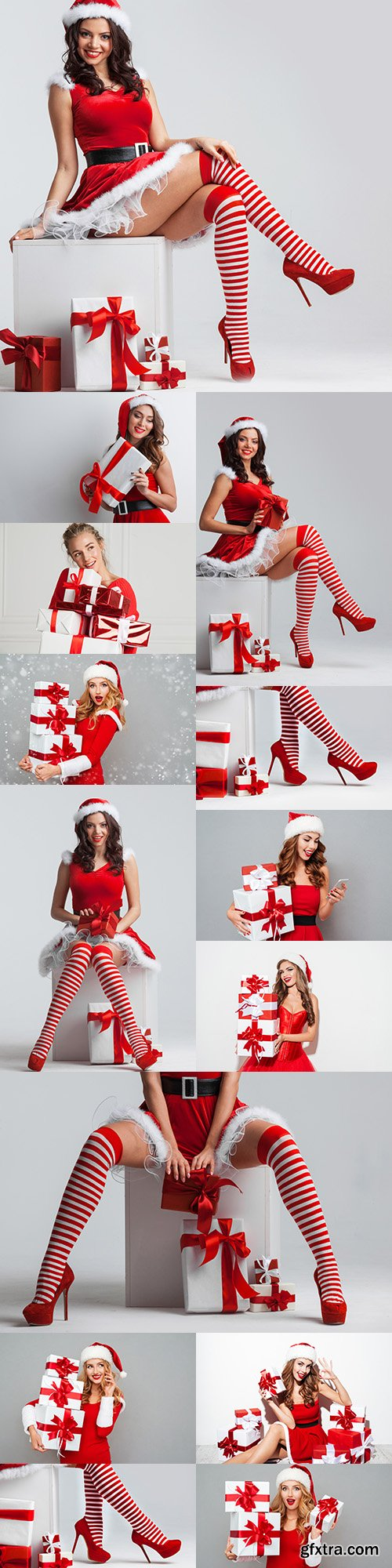 Beautiful girl in Christmas suit Santa with gifts