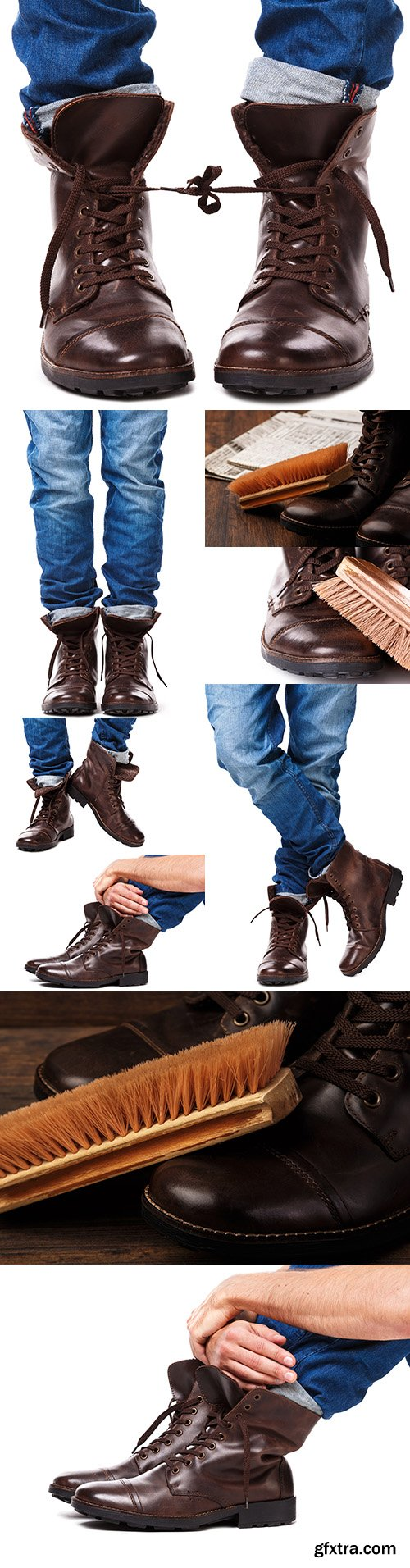 Men's jeans and leather boots modern clothing style