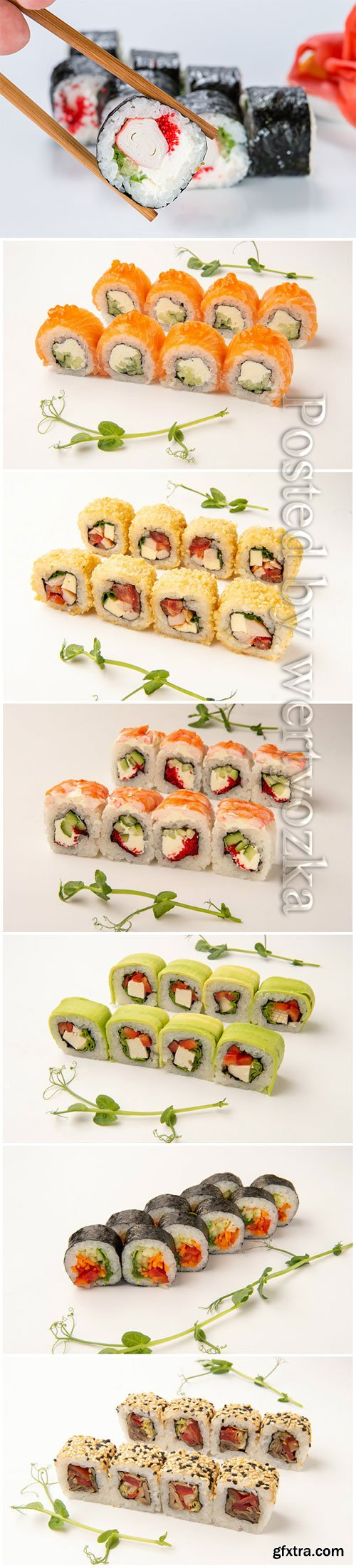 Sets of delicious fresh sushi on a white background