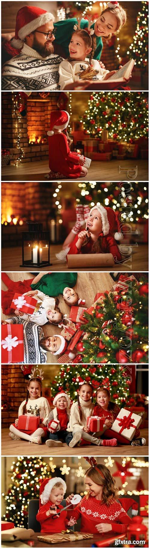 Family celebrates Christmas, New Year stock photo