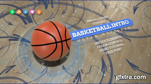 ideohive Basketball 4K Opener/ Action Sport Promo/ Active Game/ Basket Ball Logo/ NBA Intro/ Broadcast Bumper 24891112