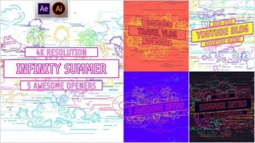 Videohive - Youtube/ Infinity Summer Openers/ Social Media/ Line Icons/ Cartoon/ Music Dance Party/ IGTV/ Event
