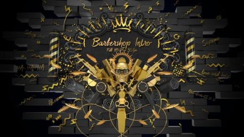 Videohive - Barbershop Intro/ Hipster Haircut/ Man Style/ Beard/ Hair/ Moustache/ Gold Scull/ Black Luxury Salon