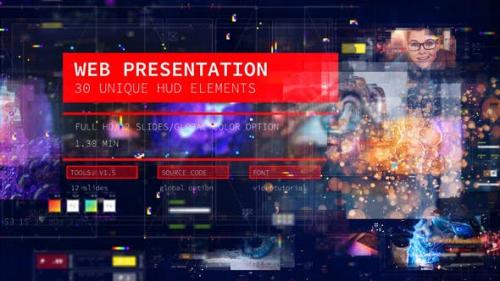 Videohive - Web Presentation/ HUD Modern Slideshow/ 3D Sci-Fi Glitch Intro/ Digital Parallax/ Hightech Interface