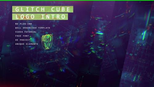 Videohive - Glitch Cube Logo 4k Intro/ Youtube Blog/ Digital Distortion/ Error and Bad Signal/ Glass Aberration
