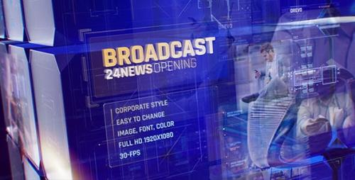 Videohive - Broadcast 24 News Opening Id/ Business and Corporate Meeting/ Glass Cube Intro/ HUD UI Breaking News