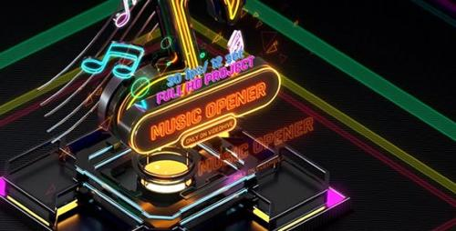 Videohive - Music Opener Neon Style/ Music Award/ Old Music Boombox/ Radio Show/ Speakers and Bass
