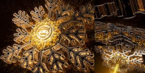 Videohive - Snowflake Opener 3D/ Gold Metal Intro/ Syfy Winter/ High Technology Snow Intro/ HUD Logo/ New Year